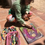 Having fun painting in the sun