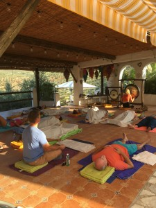 Relaxing in the yoga shala to the gongs